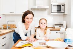 Mother And Daughter Baking Cookies. In their kitchen Royalty Free Stock Photography