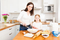 Mother And Daughter Baking Cookies Stock Photos
