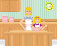 Mother and Daughter Baking in the Kitchen. A mother helps her daughter bake in the kitchen. There are cabinets, and a cute retro clock Stock Image