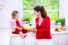 Mother and daughter baking a pie. Young mother and her adorable daughter, cute funny toddler girl in a red dress, baking a pie together preparing healthy lunch royalty free stock images