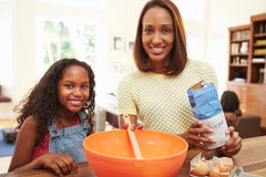 Mother And Daughter Baking Together At Home Stock Photos