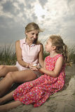 Mother and Daughter at the Beach royalty free stock photography