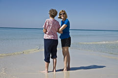 Mother and Daughter at the Beach Stock Photography