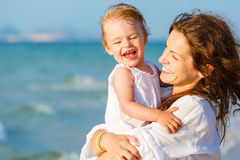 Mother and daughter on the beach Royalty Free Stock Photography