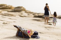 Mother and daughter on beach Royalty Free Stock Image
