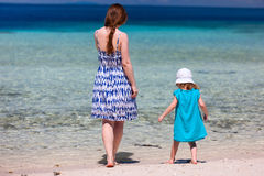 Mother and daughter at beach Stock Photo