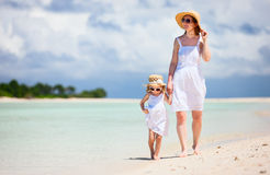 Mother and daughter at beach Royalty Free Stock Photo