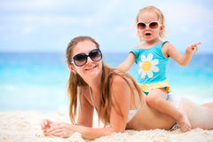 Mother and daughter on beach vacation Stock Image