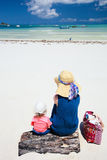 Mother and daughter on beach vacation Royalty Free Stock Images