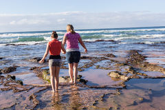 Mother Daughter Beach Waves Exploring Stock Image