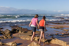 Mother Daughter Beach Waves Exploring Royalty Free Stock Images