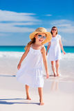 Mother and daughter at beach Stock Image
