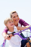 Mother daughter bicycle Stock Images