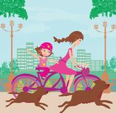 Mother and daughter biking. Vector Illustration Stock Photography
