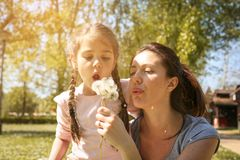 Mother and daughter blowing dandelion. Single mother enjoying w stock image