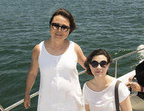 Mother and daughter on a boat Stock Image