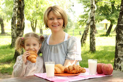 Mother and daughter breakfast Royalty Free Stock Photo