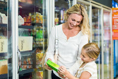 Mother and daughter buying food Stock Images