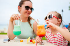Mother and daughter at cafe Royalty Free Stock Photo