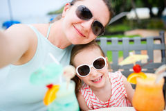 Mother and daughter at cafe Stock Photography