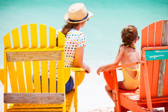 Mother and daughter on Caribbean vacation Stock Images