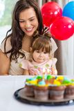 Mother With Daughter Celebrating Birthday Party Royalty Free Stock Photo