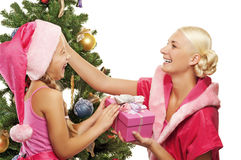 Mother and daughter celebrating christmas Royalty Free Stock Image