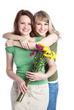 Mother and daughter celebrating mother's day. A portrait of a happy mother and daughter celebrating mother's day Royalty Free Stock Image