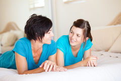 Mother daughter chatting Stock Photo