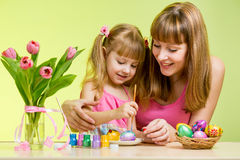 Mother and daughter child paint Easter eggs Royalty Free Stock Photo
