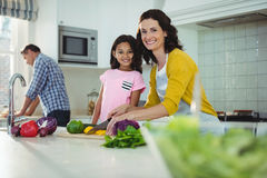 Mother and daughter chopping vegetables in kitchen Royalty Free Stock Image