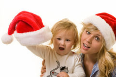 Mother and daughter on Christmas Stock Photo