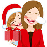 Mother Daughter Christmas Gift Giving Stock Photo