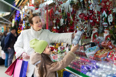 Mother with daughter in Christmas market Stock Image