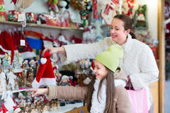 Mother with daughter in Christmas market Royalty Free Stock Image