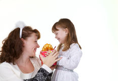 Mother with daughter and christmas toys Stock Photography
