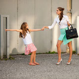 Mother and daughter in city Royalty Free Stock Photo