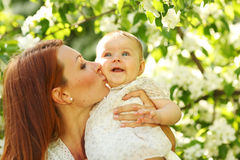 Mother and daughter close up portrait Stock Image