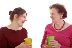 Mother and Daughter Coffee Chat Stock Photography