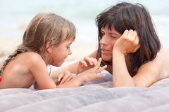 Mother and daughter communicating Royalty Free Stock Photo