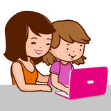 Mother and daughter on the computer Stock Photo