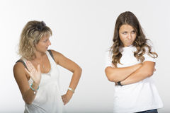 Mother daughter conflict Stock Images