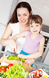 Mother and daughter cook Stock Images