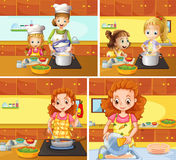 Mother and daughter cooking and cleaning royalty free illustration