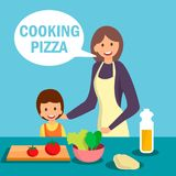 Mother with Daughter Cooking Dish Illustration stock illustration