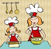 Mother and daughter cooking and having fun. Mother and daughter sharing the art of cooking at home. Vector available royalty free illustration