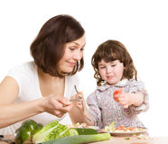Mother and daughter cooking at the kitchen Stock Photography