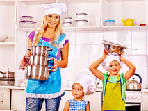 Mother and daughter cooking at kitchen Royalty Free Stock Photo