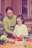 Mother with daughter cooking at kitchen stock image