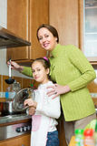 Mother with daughter cooking at kitchen Royalty Free Stock Image